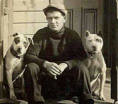 Vintage photo of a man sitting on steps with two dogs. Dog Photos, Dog Pictures, American Pitbull, American Bulldogs, Nanny Dog, Pitbulls, Dog Games, Pit Bull Love, Vintage Dog