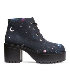 Canvas printed lace-up platform boots in an outer space print with chunky black rubber heels. | H&M Shoes