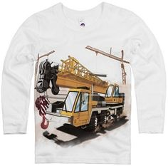 Shirts That Go Little Boys' Long Sleeve Construction Cranes & Truck T-Shirt.   This yellow construction truck is a perfect addition to a birthday celebration. Kids fashion, boy style and great for kids who love construction and trucks.