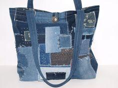 """Tragetaschen - Jeans Shopper """"Fizzel""""  Upcycling Tragetasche - ein Designerstück von AnTaschen bei DaWanda"""