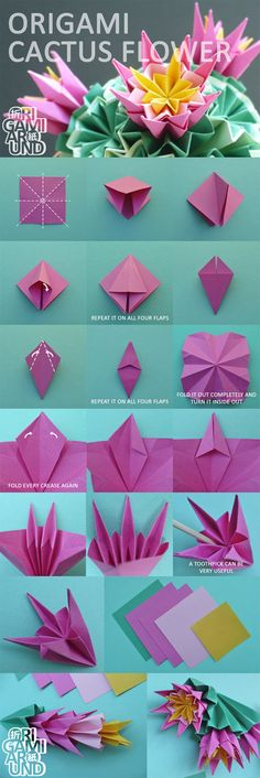 origami How to make an origami venus kusudama cactus tutorial - Part - The Flowers Pa. How to make an origami venus kusudama cactus tutorial - Part - The Flowers Part of the tutorial Part of the tutorial Origami Diy, Origami And Quilling, Origami And Kirigami, Origami Paper Art, Origami Butterfly, Modular Origami, Useful Origami, Origami Design, Paper Crafting