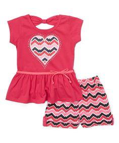 Fuchsia Cutout Peplum Tee & Zigzag Shorts - Toddler