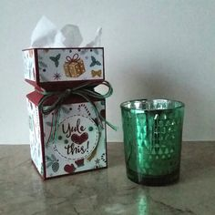 Stampin' Up! Demonstrator stampwithpeg –Envelope Punch Board :Presents & Pinecones Gift Box with Instructions.  I bought this lovely candle holder a while ago, it has lots of little chr…