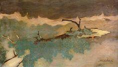 Liggende boomstronk, 1914  Jan Mankes (1889-1920) olieverf op doek  Formaat: 20,5 x 36,5 cm.