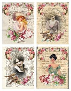"""Some Vintage Image ATC size tags for my followers to download.  Click on picture to increase the size, then right click on picture and click on """"save as"""".  Enjoy!"""