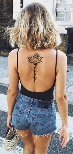 Womens Lotus Flower Sanskrit Quote Script Tattoo Ideas for Women - Black Henna Upper, Middle Lower Spine Back Tats - MyBodiArt.com