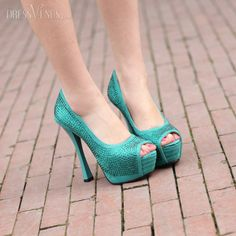 Beutiful Blue  Peep Toe Stiletto Heels Prom Shoes With Paillette
