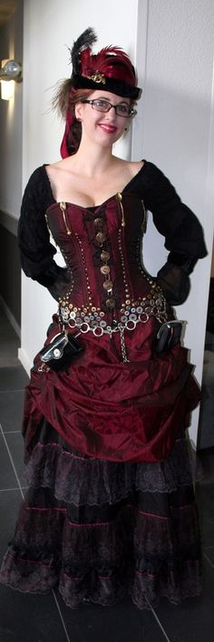 Steampunk gown. Wonderful trim & buttons on this one!