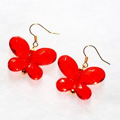 Red Crystal Butterfly Earrings Handmade Jewelry With Swarovski... ($36) ❤ liked on Polyvore featuring jewelry, earrings, butterflies, vintage red earrings, yellow gold earrings, vintage jewelry, swarovski crystal jewelry and gold earrings