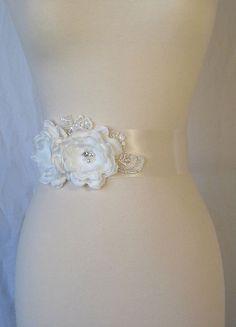 Ivory Bridal Sash Wedding Belt Pearl Bridal Sash by TheRedMagnolia, $110.00