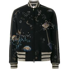 Valentino 'Astro Couture' bomber jacket (€6.735) ❤ liked on Polyvore featuring outerwear, jackets, bomber jackets, valentino, black, blouson jacket, stand up collar jacket, zip front jacket, long sleeve jacket and embroidered jacket
