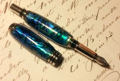 Stunning Abalone Fountain Pen-Green-Heart Shell in Rhodium (Also available as a roller-ball) by EQVPenmakers on Etsy