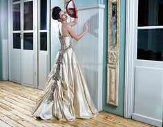 Champagne gold fusion bridal gown in raw silk with maroon velvet patchwork embroidery