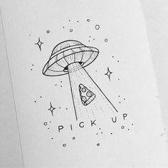 This but coffee instead of pizza astronautas, pinturas, bocetos, dibujar arte, pintura Alien Drawings, Space Drawings, Doodle Drawings, Art Drawings Sketches, Pencil Drawings, Cool Drawings Tumblr, Funny Drawings, Pizza Drawings, Art Drawings Easy