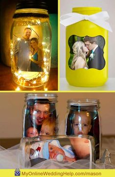 Pictures inside mason jars are an easy way to personalize wedding centerpieces. You choose the photo and sellers will complete the top two jars for you to use in your centerpieces. The bottom is a simple DIY. See these and 20+ in the blog post on MyOnlineWeddingHelp.com