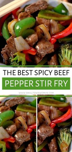 A healthy dinner choice full of red and green bell peppers broccoli onions and steak in a slightly spicy ginger garlic soy sauce! This Spicy Beef Pepper Stir Fry is so easy to make at home tastes so much better and costs less than take out. Save this pin! Steak Recipes, Cooking Recipes, Meatball Recipes, Asian Recipes, Healthy Recipes, Healthy Nutrition, Healthy Meals, Healthy Food, Healthy Eating