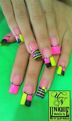 *Pink*Black*Yellow* by nails_nil - Nail Art Gallery nailartgallery.nailsmag.com by Nails Magazine www.nailsmag.com #nailart