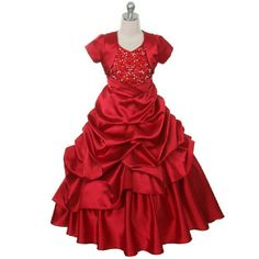 Red Satin Halter Pick-Up Dress with Matching Bolero Jacket on www. Red Satin, White Satin, Girls Designer Dresses, Girls Dresses, Burgundy Homecoming Dresses, Under The Skirt, Embellished Top, Pageant Dresses, Princess Wedding