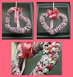 Make a cool creative wreath with gum wrappers...