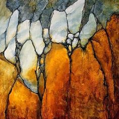 """Daily Paintworks - """"Geological Abstract Art Painting Marble Palisade by Colorado Mixed Media Abstract Artist Carol Nel"""" - Original Fine Art for Sale - © Carol Nelson"""