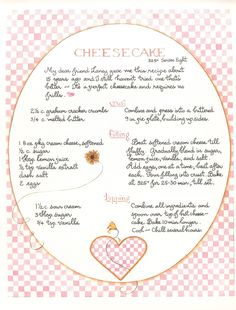 Cheesecake with Sour Cream Top (Susan Branch) Old Recipes, Vintage Recipes, Recipies, Cooking Recipes, Roast Recipes, Sausage Recipes, Shrimp Recipes, Turkey Recipes, Fish Recipes