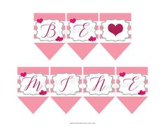DIGITAL - Be Mine Valentines Day Bunting Banner Pink Red Heart Love Printable Valentines Day Party Decorations Hanging Banner