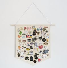 Pin Badge Display Pennant Enamel Lapel Pin by CousinsCollective. A blank wall banner/pennant, a great idea for pin storage and pin display.