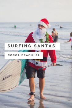 Surfing Santas, Cocoa Beach, Florida — beaches, booze, and bungalows Cocoa Beach Florida, Florida Beaches, Local Hotels, Surfer, Beach Quotes, Costume Contest, Family Day, Bungalows, Beach Fun