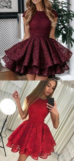 simple burgundy lace homecoming dresses, short sleeves back to school dresses, formal a line homecoming dresses for teens Source by dresswomen for teens dance Junior Prom Dresses Short, Lace Homecoming Dresses, Hoco Dresses, Cute Dresses, School Dresses, Pretty Dresses For Teens, Dresses For Teens Dance, Formal Dresses For Teens, Burberry Coat
