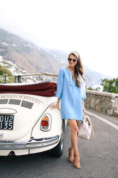 blue scalloped dress in Positano, Italy
