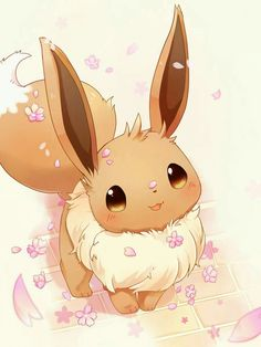 Pokémon Eevee : Illustration Description Look at the Flowers! Pokemon Team, All Pokemon, Pokemon Fan Art, Eevee Cute, Pokemon Eeveelutions, Eevee Evolutions, Eevee Wallpaper, Cute Pokemon Wallpaper, Cute Cartoon Wallpapers