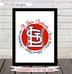 Customizable MLB Print with your team and your by CoCoStineDesigns, $15.00