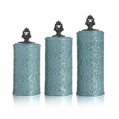 Teal Blue Canister Set Earthware 3 Piece Kitchen Counter Jars Dry Goods Storage