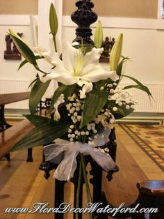 White Wedding Flowers Crooke Church Waterford. Rose, Calla, Freesia, Bouvadia Wedding Bouquet White Wedding Flowers, Church Wedding, Wedding Bouquets, Table Decorations, Rose, Plants, Home Decor, Pink, Wedding Brooch Bouquets