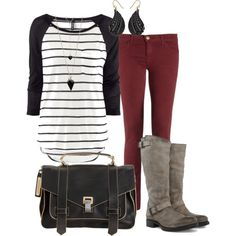 Everything minus the bag Work Outfits, Winter Outfits, Casual Outfits, Cute Outfits, Fashion Outfits, Womens Fashion, Maroon Jeans, School Shopping, Organizing Ideas