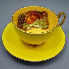 Gorgeous YELLOW Aynsley Tea Cup and Saucer Set by Thinkilikeit