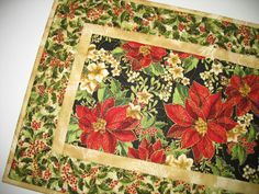 Christmas Table Runner with Poinsettias, from Kaufman Flourish 8 by PicketFenceFabric on Etsy