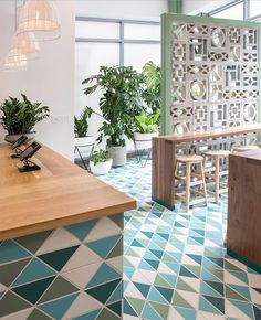 Conceived by design studio DUST & Co., Da Kikokiko serves up a fresh twist on island style with custom Triangle tiles across the floor and bar. Decor, House Design, House, Home, Mid Century Exterior, Fireclay Tile, Breeze Blocks, Breeze Block Wall, Wall Design
