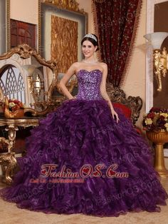 Affordable Dark Purple Quinceanera Dress Sweetheart Organza Sequins Ball Gown  http://www.fashionos.com  http://www.facebook.com/quinceaneradress.fashionos.us  An elegant and gorgeous quinceanera gown accents a beaded sweetheart neckline and a heavy ruffled ball skirt. The beads on the bodice create a shinning and delicate look. The layered ruffles makes the dress big and sassy. A lace up back hugs you body tightly to present your feminine pretty.