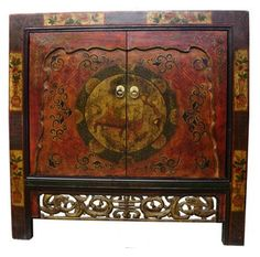 33 H Tibetan Cabinet Hand Painted And Hard Carved Two Doors With Shelf Oriental Furniture