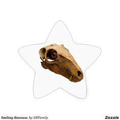 Smiling dinosaur. star sticker
