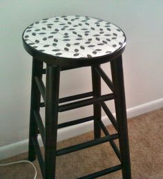 My diy barstool makeover. I forgot to take before and after pics, but this was just a plain brown barstool with no cushion.