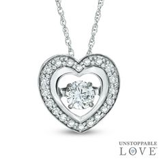 Unstoppable Love™ 1/4 CT. T.W. Diamond Heart Pendant in 10K White Gold - View All Necklaces - Zales