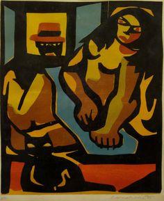 Emiliano Di Cavalcanti (Brasil, 1897-1976). Couple and Cat (Illustration).