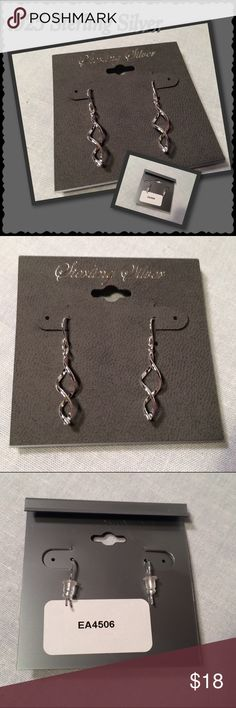 """.925 Sterling Silver Twist Infinity Drop Earrings These Sterling Silver twist infinity design drop earrings really catch dance in the light!  Perfect to wear everyday or for the upcoming holidays. They also would make a great gift idea!   ·      Brand new, Never worn, Still on card with stoppers   ·      .925 Sterling Silver   ·      Total length 1 3/4"""" (including ear wire) Jewelry Earrings"""