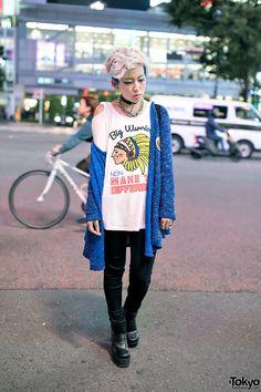 Marimo on the street in Shibuya wearing fashion... | Tokyo Fashion