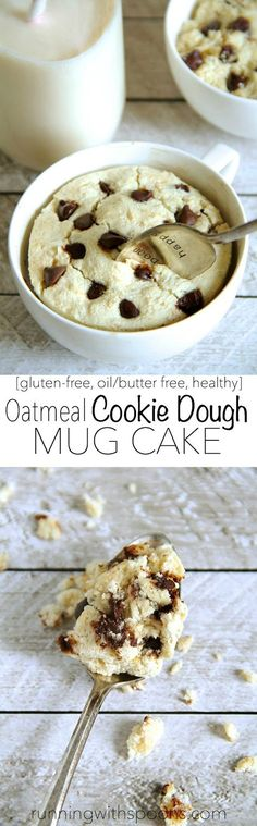 Oatmeal Cookie Dough Mug Cake -- satisfy your cravings in less than 5 minutes with this delicious gluten-free mug cake! Single-serve and made with healthy ingredients, it makes the PERFECT snack!    runningwithspoons.com