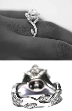 Diamond ring made to look like a rose.