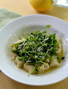 Herbed Gnocchi and Sauteed Pea Tendrils with a Lemon Wine Butter Sauce