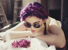 Purple milkmaid braid... I'm literally in love with her hair omg...